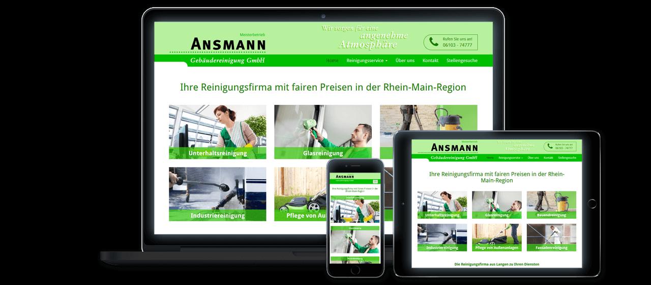 Ansmann Gebäudereinigung GmbH - Website Relaunch, Flexibles Responsive Design für alle Endgeräte