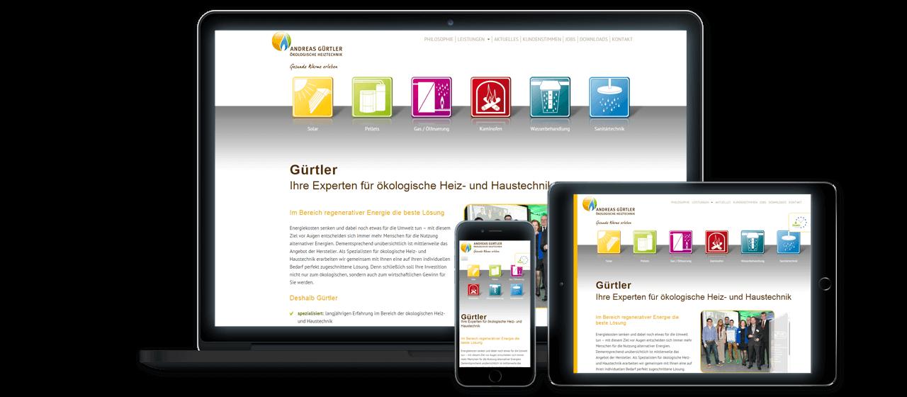 Andreas Gürtler - Website Relaunch, Flexibles Responsive Design für alle Endgeräte