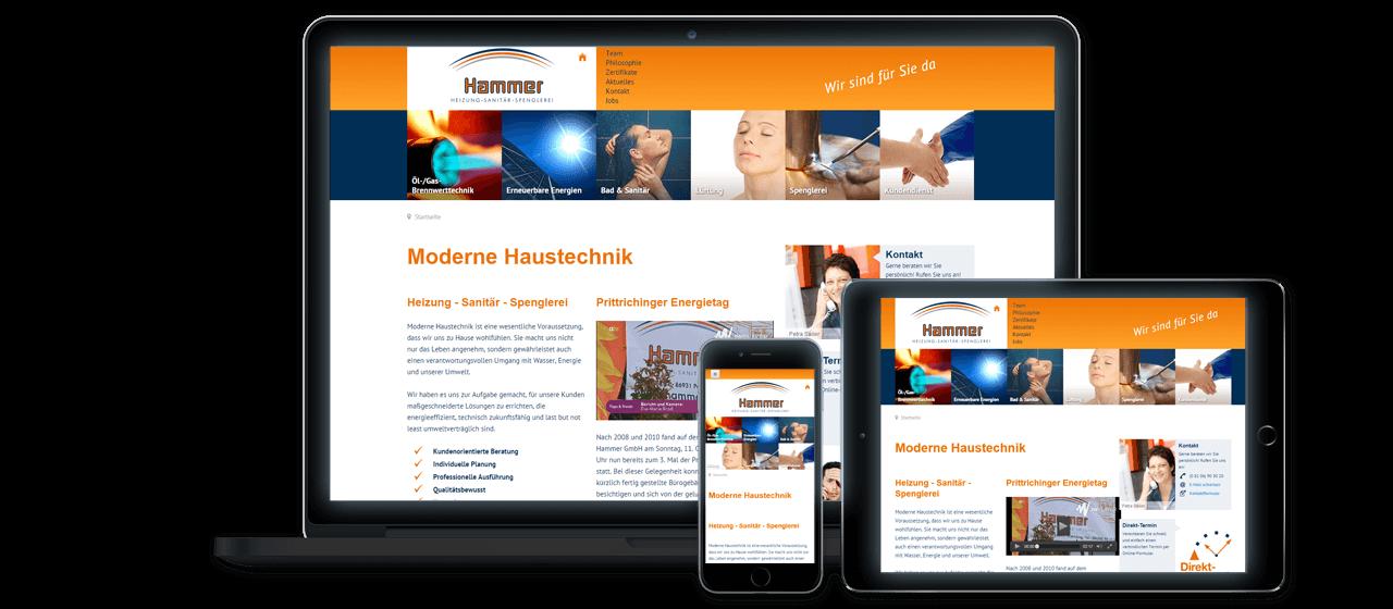 Hammer Spenglerei, Sanitär- und Heizungstechnik GmbH - Website Relaunch, Suchmaschinen-Optimierung