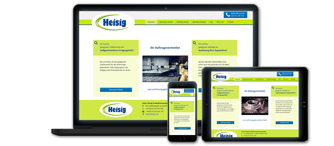 Peter Heisig GmbH - Website Relaunch, Flexibles Responsive Design für alle Endgeräte