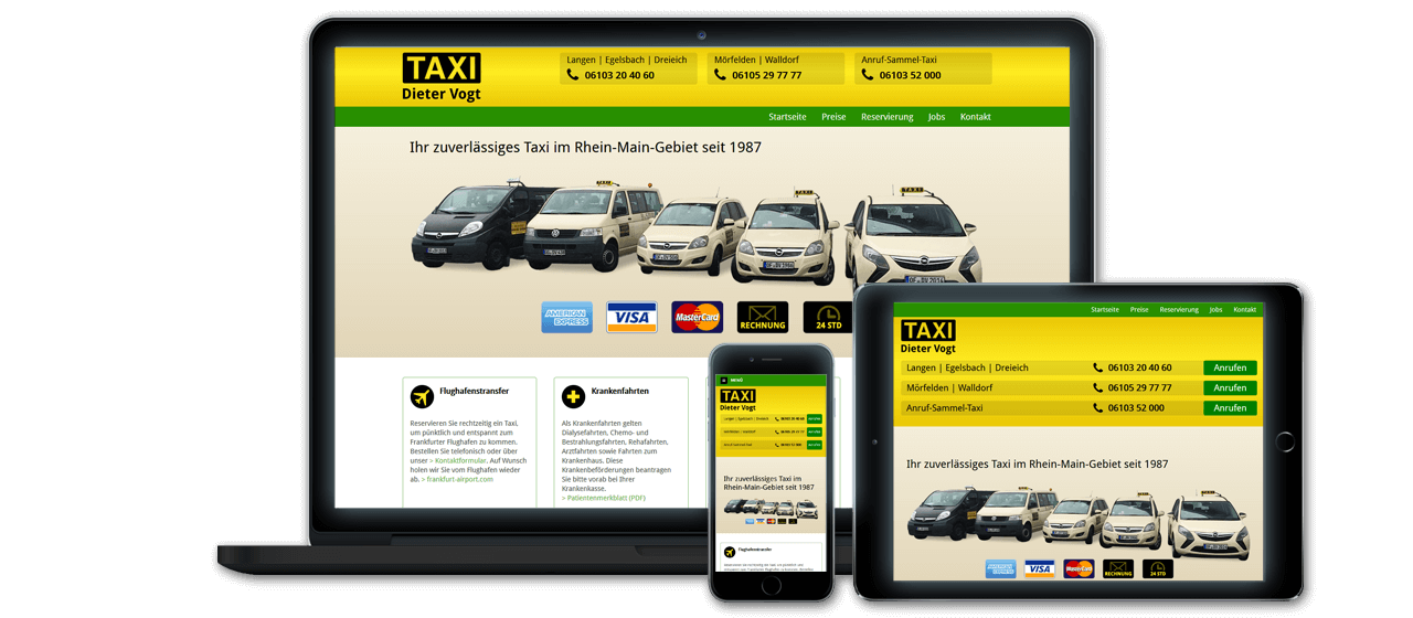 Taxi & Mietwagenbetrieb Dieter Vogt - Website Relaunch, Flexibles Responsive Design für alle Endgeräte