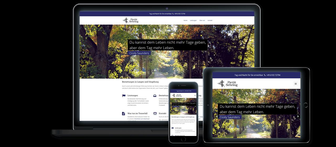 Pietät Sehring - Responsive Design, Website