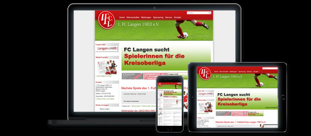 1. FC Langen - Website Relaunch, Konzeption und Design Alt
