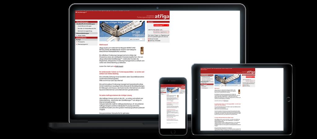 atriga alt - Website Relaunch, Konzeption und Design